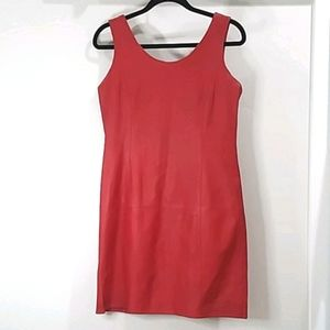 Vintage *80's* real Red Leather lined minidress